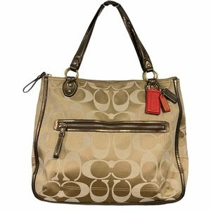 Coach Signature Poppy Bag Metallic Outlined Tote